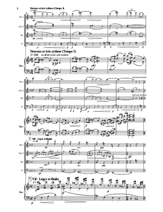Quintette en fa majeur pour cordes et piano, extrait 8