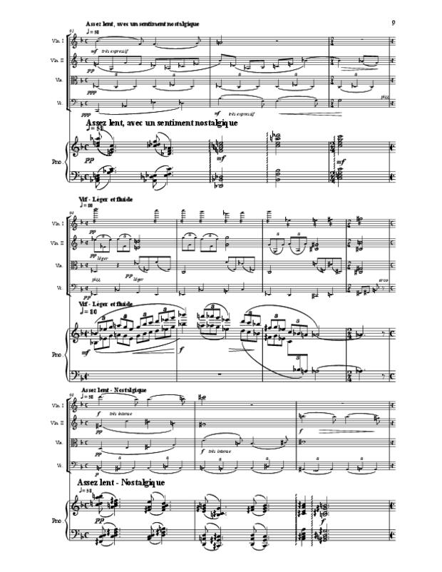 Quintette en fa majeur pour cordes et piano, extrait 9
