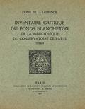 couverture de Inventaire critique du fonds Blancheton de la bibliothèque du Conservatoire de Paris