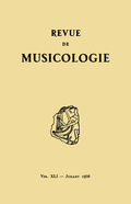 (couverture de Revue de musicologie, t. 41/1 (1958))