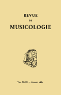 (couverture de Revue de musicologie, t. 47/1 (1961))