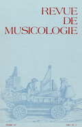 (couverture de Revue de musicologie, t. 67/1 (1981))