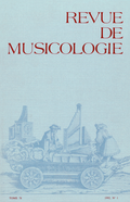 (couverture de Revue de musicologie, t. 78/1 (1992))
