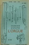 (couverture de Rolande Falcinelli, organiste du Sacré-Cœur de Montmartre (I) – L'orgue aux États-Unis (II) – Contacts entre prêtres et organistes (II) – Orgue et acoustique (I). Principe des tuyaux à bouche)