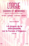 """(couverture de """"À propos de la Discussion sur la facture d'orgues"""" (1914), Albert Schweitzer)"""