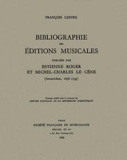 (couverture de Bibliographie des éditions musicales publiées par Estienne Roger et Michel-Charles Le Cène)