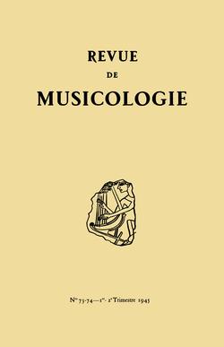 (couverture de Revue de musicologie, t. 27/1 (1945))