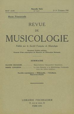 (couverture de Revue de musicologie, t. 27/2 (1945))