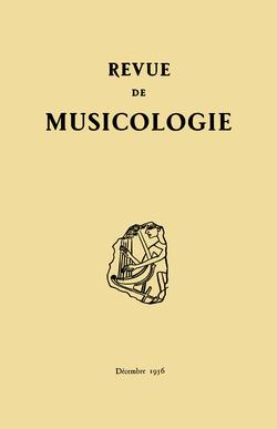 (couverture de Revue de musicologie, t. 38/2 (1956))
