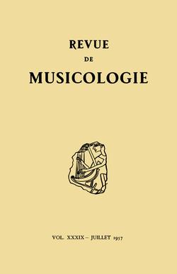 (couverture de Revue de musicologie, t. 39/1 (1957))