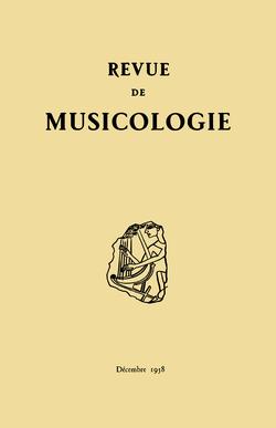 (couverture de Revue de musicologie, t. 42/2 (1958))