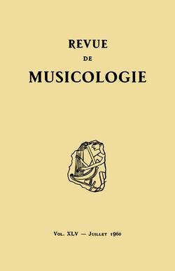 (couverture de Revue de musicologie, t. 45/1 (1960))