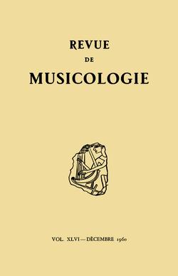 (couverture de Revue de musicologie, t. 46/2 (1960))