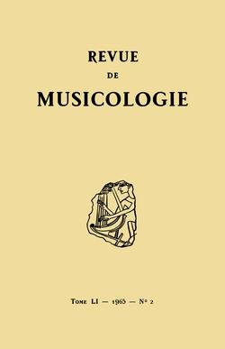 (couverture de Revue de musicologie, t. 51/2 (1965))