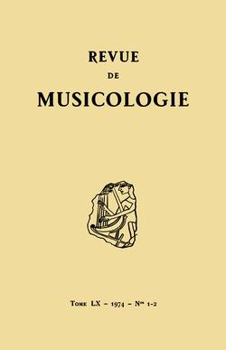 (couverture de Revue de musicologie, t. 60/1-2 (1974))
