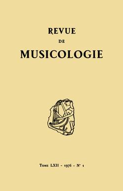 (couverture de Revue de musicologie, t. 62/1 (1976))