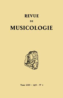 (couverture de Revue de musicologie, t. 62/2 (1976))