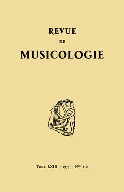 (couverture de Revue de musicologie, t. 63/1-2 (1977))
