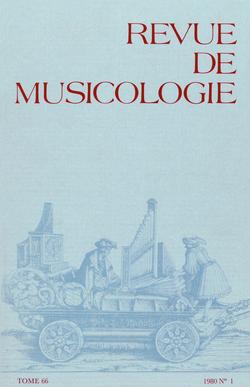 (couverture de Revue de musicologie, t. 66/1 (1980))