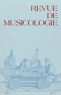 (couverture de Revue de musicologie, t. 73/2 (1987))