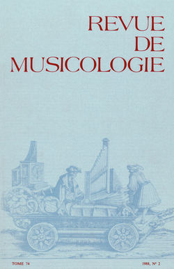 (couverture de Revue de musicologie, t. 74/2 (1988))