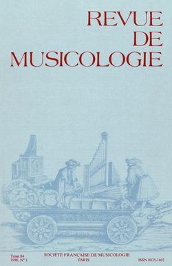 (couverture de Revue de musicologie, t. 84/1 (1998))