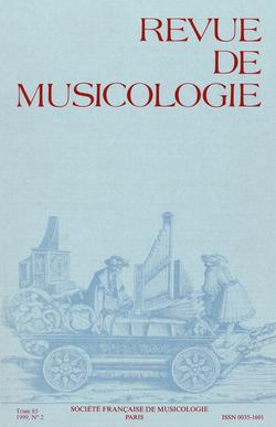 (couverture de Revue de musicologie, t. 85/2 (1999))