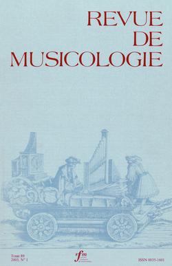 (couverture de Revue de musicologie, t. 89/1 (2003))