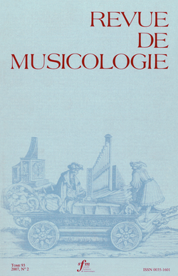 (couverture de Revue de musicologie, t. 93/2 (2007))