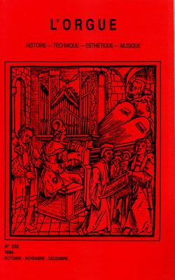 (couverture de Hugo Distler: un Jehan Alain allemand? — Le nouvel orgue Van den Heuvel du Victoria Hall à Genêve — Quatre grands instruments flamands)