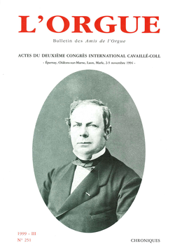 (couverture de Actes du deuxième Congrès International Cavaillé-Coll (Épernay, Châlons-sur-Marne, Laon, Marle, 2-5 novembre 1994))