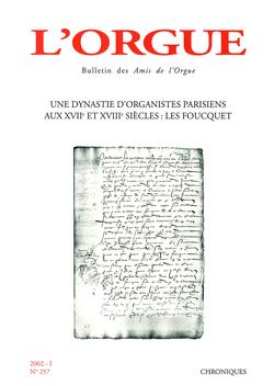 (couverture de Une dynastie d'organistes parisiens aux XVIIe et XVIIIe siècles: les Foucquet)