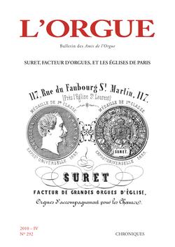 (couverture de Suret, facteur d'orgues, et les églises de Paris)