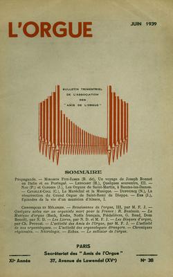 (couverture de Un voyage de Joseph Bonnet en Italie et au Portugal – Les orgues de Saint-Martin, à Beaume-les-Dame – Épisodes de la vie d'un musicien d'Alsace – La résurrection du grand orgue de Saint-Remi de Dieppe)