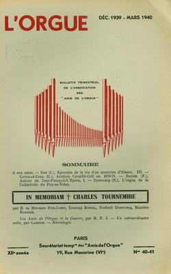 (couverture de Épisodes de la vie d'un musicien d'Alsace – L'orgue de la cathédrale du Puy-en-Velay – In memoriam Charles Tournemire – Les Amis de l'orgue et la guerre)